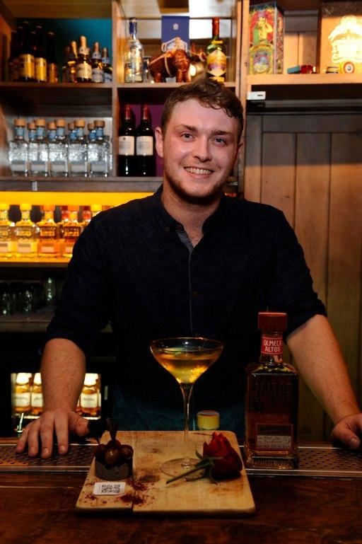Chris Mosey of Hula Bar with his winning cocktail, 'Olmeca you a Boss Martini'