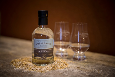 Kingsbarns New Make Spirit with barley and glasses