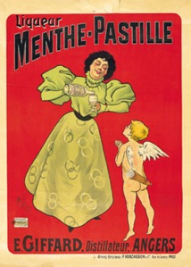 1895 « La Dame et l'angelot » - 1st Menthe Pastille advertising poster created by Mitsi